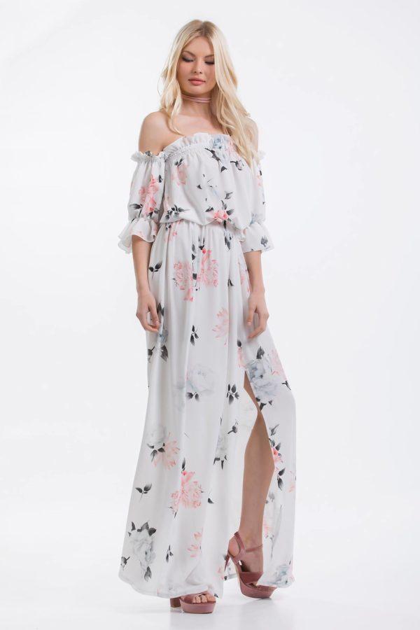 Κάνε εντυπωσιακές και απόλυτα θηλυκές εμφανίσεις με αυτό το μάξι floral φόρεμα! Το κρουαζέ ντεκολτέ του προσθέτει μια sexy νότα στο αέρινο, εμπνευσμένο από τα '70s στυλ του, ενώ τα μανίκια ξεχωρίζουν με τη διακριτική διαφάνεια!